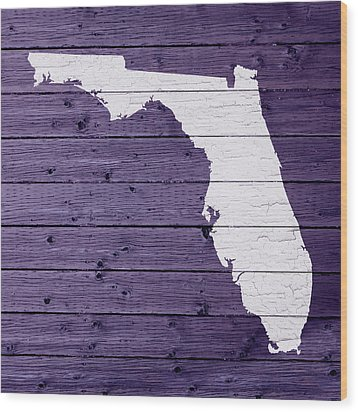 Map Of Florida State Outline White Distressed Paint On Reclaimed Wood Planks Wood Print by Design Turnpike