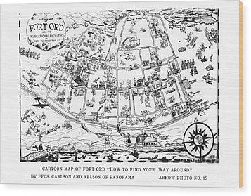 Map Of Fort Ord Army Base Monterey California Circa 1950 Wood Print