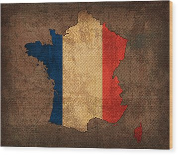 Map Of France With Flag Art On Distressed Worn Canvas Wood Print by Design Turnpike