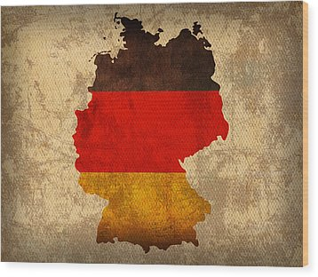 Map Of Germany With Flag Art On Distressed Worn Canvas Wood Print by Design Turnpike