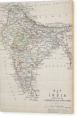 Map Of India Wood Print by Alexander Keith Johnson
