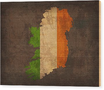 Map Of Ireland With Flag Art On Distressed Worn Canvas Wood Print by Design Turnpike