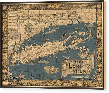 Map Of Long Island Wood Print