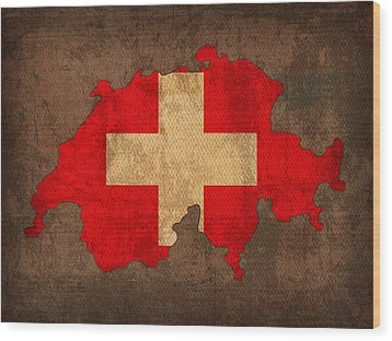 Map Of Switzerland With Flag Art On Distressed Worn Canvas Wood Print by Design Turnpike