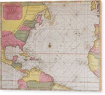 Map Of The Atlantic Ocean Showing The East Coast Of North America The Caribbean And Central America Wood Print by French School