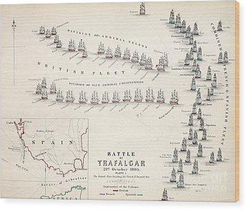 Map Of The Battle Of Trafalgar Wood Print by Alexander Keith Johnson