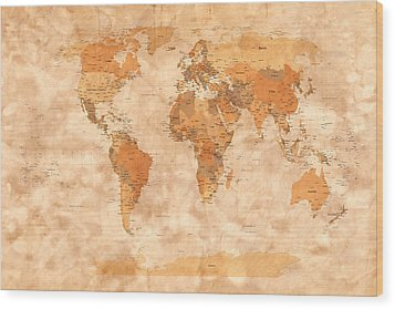 Map Of The World Wood Print by Michael Tompsett