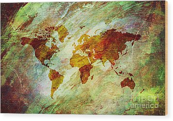 Wood Print featuring the digital art Map Of The World by Mohamed Elkhamisy