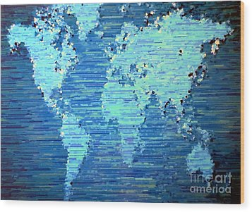 Map Of The World Wood Print by Susan Waitkuweit