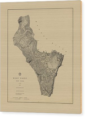 Map Of West Point 1883 Wood Print