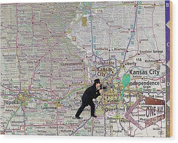 Map Overland Park Kansas Wood Print by Liane Wright