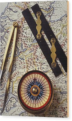 Map With Compass Tools Wood Print by Garry Gay