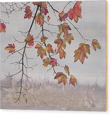 Maple In Gray Sky Wood Print by Carolyn Doe