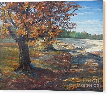 Wood Print featuring the painting Maple Lane by Lee Piper