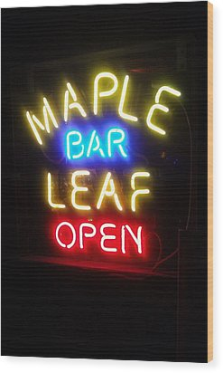 Maple Leaf Bar Wood Print by Deborah Lacoste