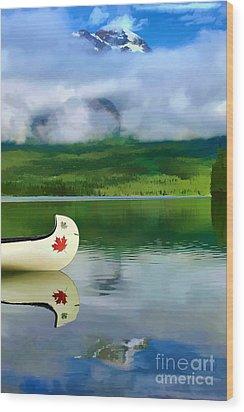 Maple Leaf Canoe On Pyramid Lake Wood Print by Teresa Zieba