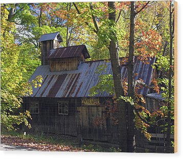 Maple Syrup Barn Wood Print
