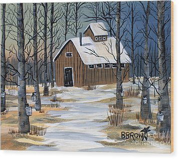 Maple Syrup Shack Wood Print