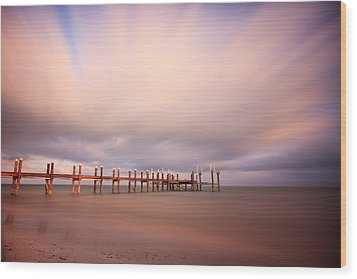 Marathon Key Long Exposure Wood Print by Adam Romanowicz