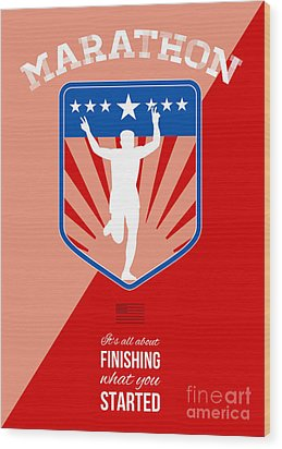 Marathon Runner Finish Run Poster Wood Print by Aloysius Patrimonio