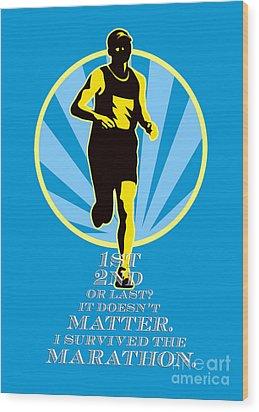 Marathon Runner First Retro Poster Wood Print by Aloysius Patrimonio