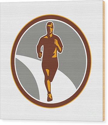 Marathon Runner Front Circle Retro Wood Print by Aloysius Patrimonio