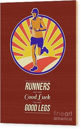 Marathon Runner Retro Poster Wood Print by Aloysius Patrimonio