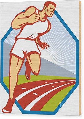 Marathon Runner Running Race Track Retro Wood Print by Aloysius Patrimonio