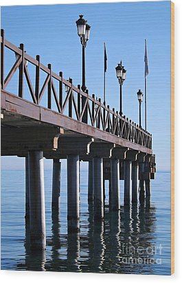 Wood Print featuring the photograph Marbella Pier Spain by Clare Bevan