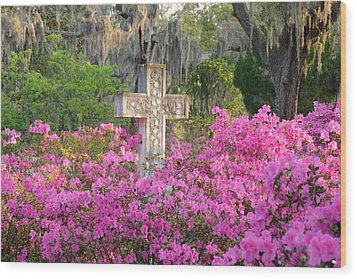 Wood Print featuring the photograph Marble Cross And Azaleas by Bradford Martin