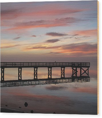 Wood Print featuring the photograph Marbled Pier by Suzy Piatt
