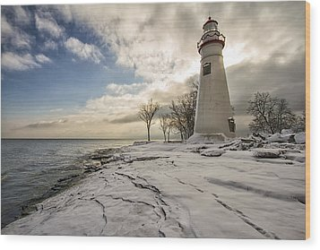 Marblehead In The Snow Wood Print by Laura James