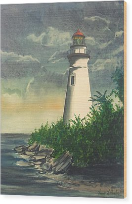 Marblehead Light On Lake Erie Wood Print
