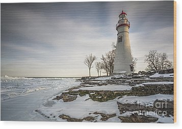 Marblehead Lighthouse Winter Wood Print by James Dean