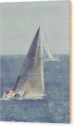 Marblehead To Halifax Ocean Race Wood Print by Jeff Folger