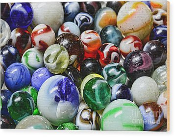 Marbles All That Color Wood Print by Paul Ward