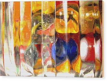 Wood Print featuring the photograph Marbles In A Glass Bowl by Mary Bedy