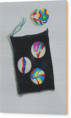 Marbles Wood Print by Jean Cormier