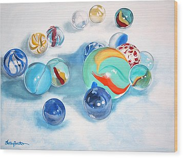 Marbles Wood Print by Shelley Overton