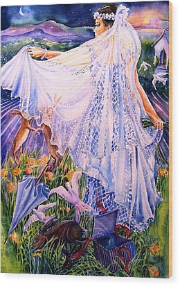 Wood Print featuring the painting March Bride With Boxing Hares  by Trudi Doyle