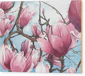 March Magnolia Wood Print by Barbara Jewell