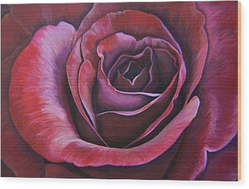 Wood Print featuring the painting March Rose by Thu Nguyen