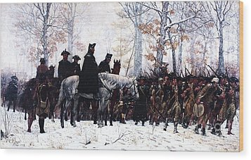 March To Valley Forge  Wood Print by Pg Reproductions