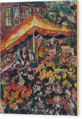 Marche Des Fleurs Wood Print by Elaine Elliott