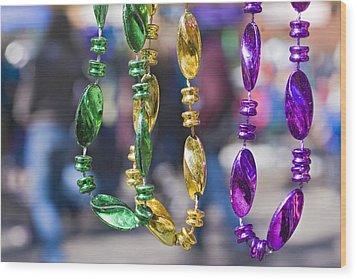 Mardi Gras Beads Wood Print by Ray Devlin