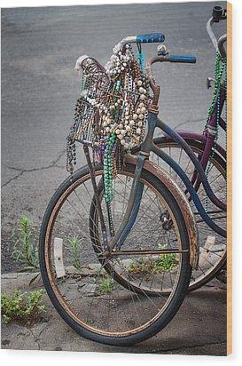 Mardi Gras Bicycle Wood Print by Brenda Bryant