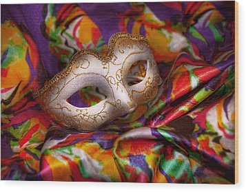 Mardi Gras - Celebrating Mardi Gras  Wood Print by Mike Savad