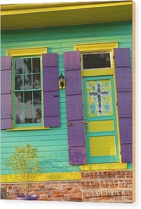Mardi Gras House Wood Print