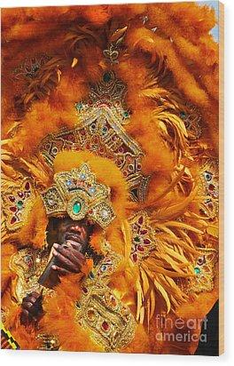 Mardi Gras Indian Orange Wood Print