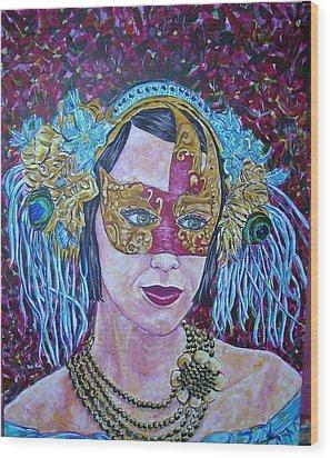 Mardi Gras Wood Print by Linda Vaughon